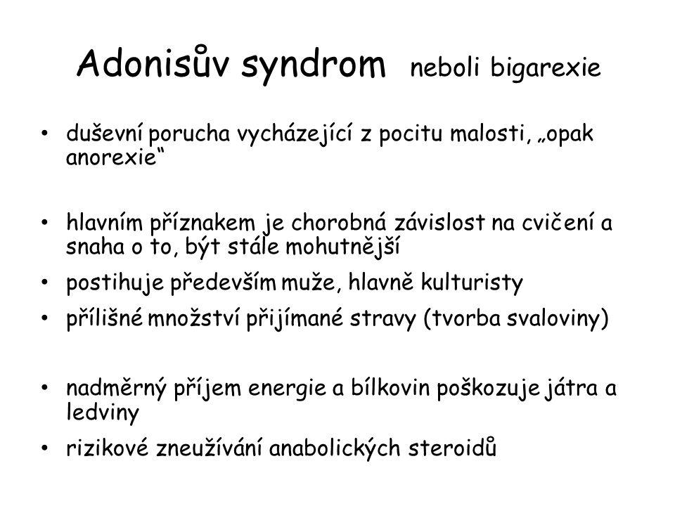 """Adonisův syndrom neboli bigarexie duševní porucha vycházející z pocitu malosti, """"opak anorexie"""" hlavním příznakem je chorobná závislost na cvičení a s"""