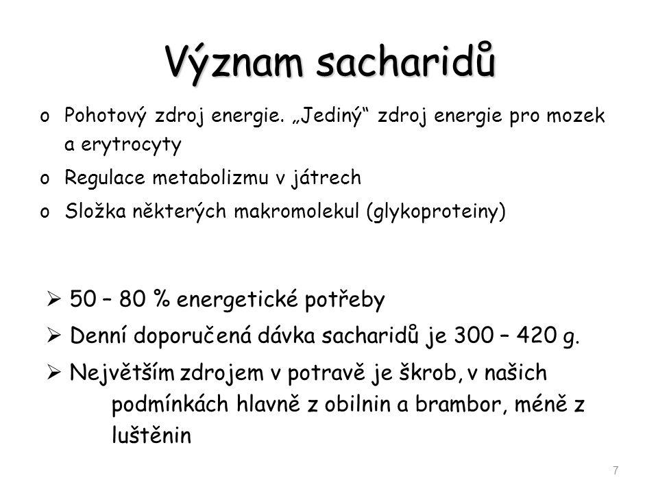 """Význam sacharidů oPohotový zdroj energie. """"Jediný"""" zdroj energie pro mozek a erytrocyty oRegulace metabolizmu v játrech oSložka některých makromolekul"""
