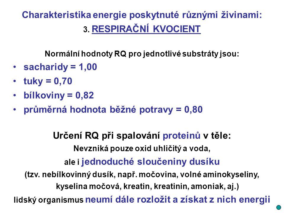 Charakteristika energie poskytnuté různými živinami: 3. RESPIRAČNÍ KVOCIENT Normální hodnoty RQ pro jednotlivé substráty jsou: sacharidy = 1,00 tuky =