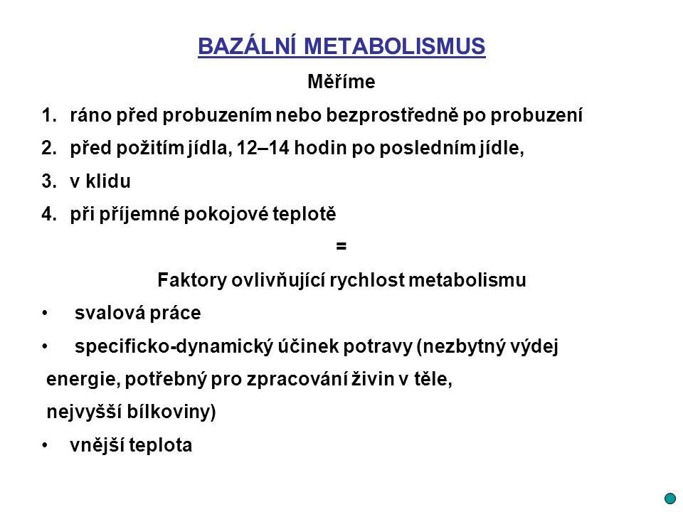 BAZÁLNÍ METABOLISMUS Měříme 1.ráno před probuzením nebo bezprostředně po probuzení 2.před požitím jídla, 12–14 hodin po posledním jídle, 3.v klidu 4.p