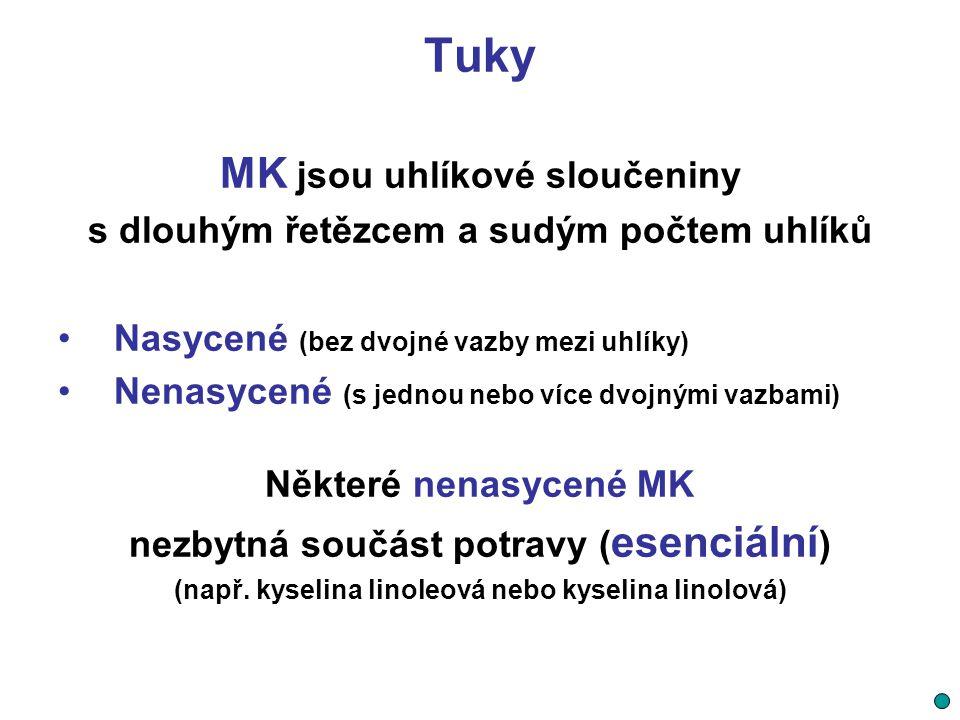 Tuky MK jsou uhlíkové sloučeniny s dlouhým řetězcem a sudým počtem uhlíků Nasycené (bez dvojné vazby mezi uhlíky) Nenasycené (s jednou nebo více dvojn