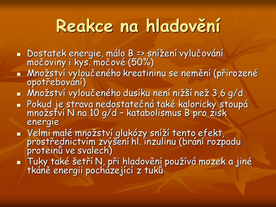 Reakce na hladovění Dostatek energie, málo B => snížení vylučování močoviny i kys. močové (50%) Dostatek energie, málo B => snížení vylučování močovin