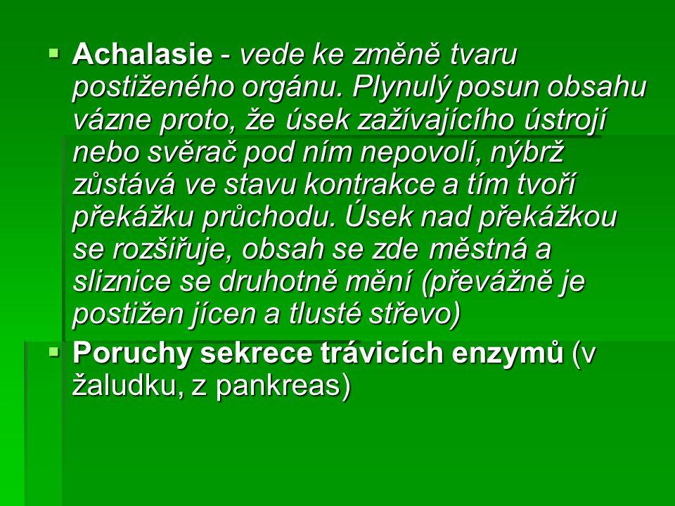  Achalasie - vede ke změně tvaru postiženého orgánu. Plynulý posun obsahu vázne proto, že úsek zažívajícího ústrojí nebo svěrač pod ním nepovolí, nýb