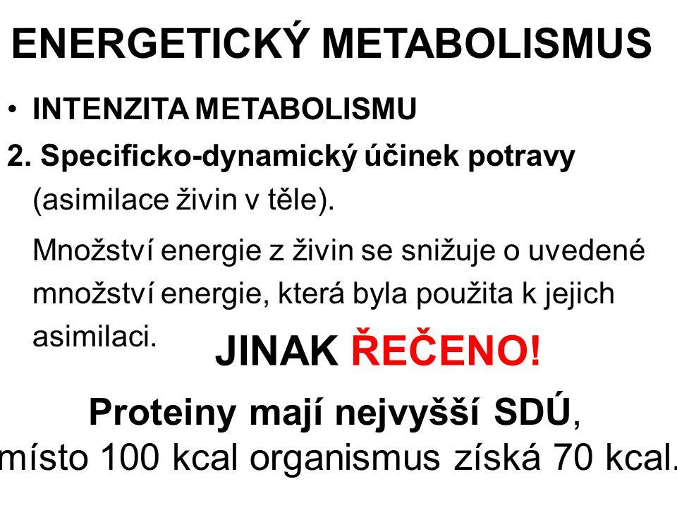 Čili: je-li SDÚ proteinů ………. 0,70, potom SDÚ sacharidů ….... 0,94, a tuků ……………….. 0,96.