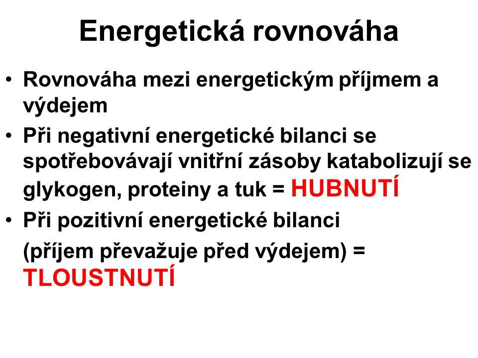 Rovnováha mezi energetickým příjmem a výdejem Při negativní energetické bilanci se spotřebovávají vnitřní zásoby katabolizují se glykogen, proteiny a tuk = HUBNUTÍ Při pozitivní energetické bilanci (příjem převažuje před výdejem) = TLOUSTNUTÍ Energetická rovnováha