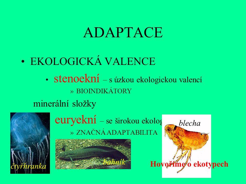 ADAPTACE EKOLOGICKÁ VALENCE stenoekní – s úzkou ekologickou valencí »BIOINDIKÁTORY minerální složky euryekní – se širokou ekologickou valencí »ZNAČNÁ