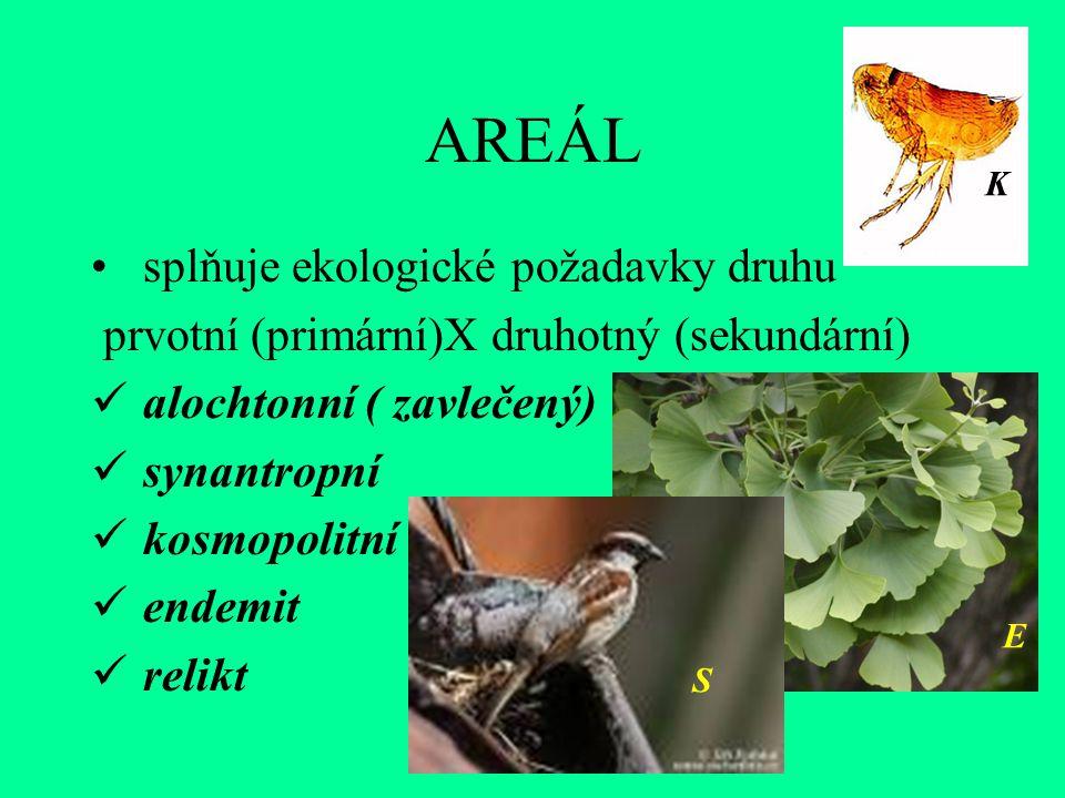 AREÁL splňuje ekologické požadavky druhu prvotní (primární)X druhotný (sekundární) alochtonní ( zavlečený) synantropní kosmopolitní endemit relikt S E