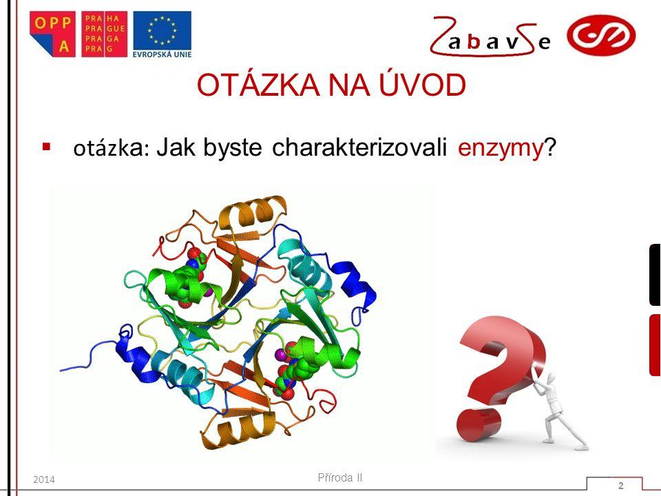 OTÁZKA NA ÚVOD  otázk a : Jak byste charakterizovali enzymy? Příroda II 2 2014