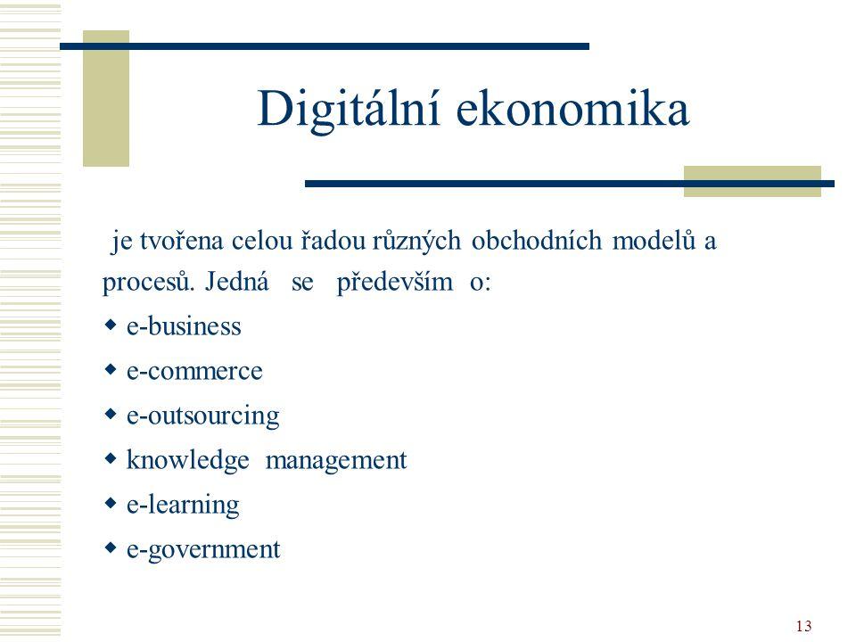 13 Digitální ekonomika je tvořena celou řadou různých obchodních modelů a procesů. Jedná se především o:  e-business  e-commerce  e-outsourcing  k