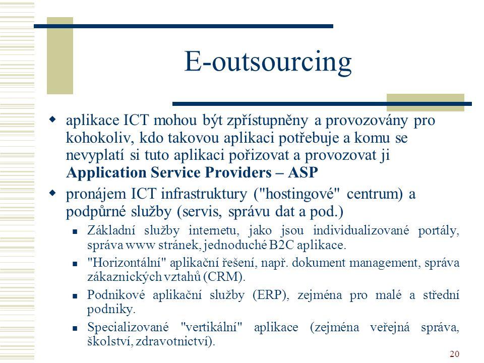 20 E-outsourcing  aplikace ICT mohou být zpřístupněny a provozovány pro kohokoliv, kdo takovou aplikaci potřebuje a komu se nevyplatí si tuto aplikaci pořizovat a provozovat ji Application Service Providers – ASP  pronájem ICT infrastruktury ( hostingové centrum) a podpůrné služby (servis, správu dat a pod.) Základní služby internetu, jako jsou individualizované portály, správa www stránek, jednoduché B2C aplikace.