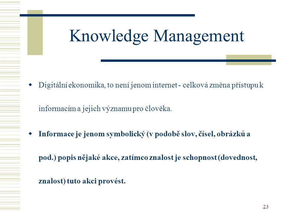 23 Knowledge Management  Digitální ekonomika, to není jenom internet - celková změna přístupu k informacím a jejich významu pro člověka.  Informace
