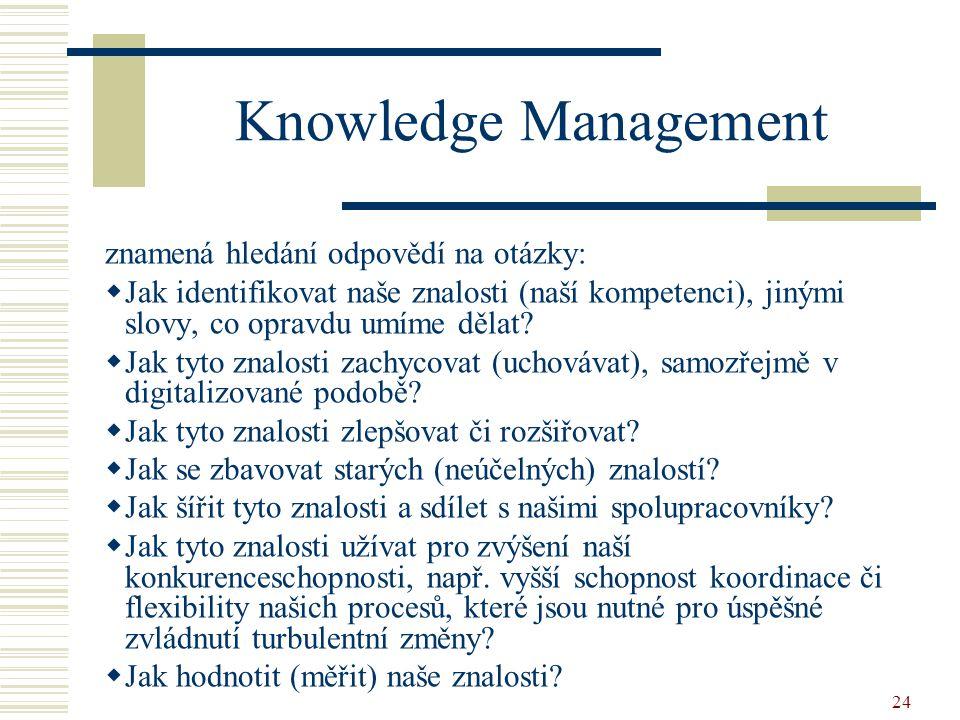 24 Knowledge Management znamená hledání odpovědí na otázky:  Jak identifikovat naše znalosti (naší kompetenci), jinými slovy, co opravdu umíme dělat.