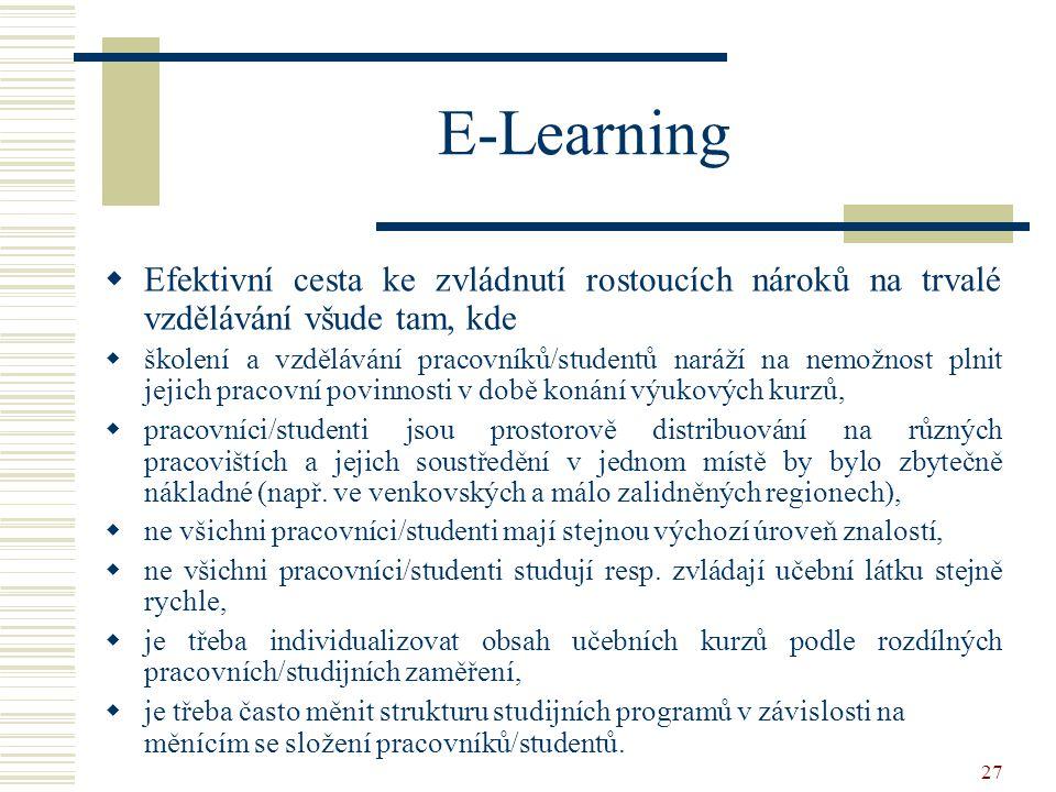 27 E-Learning  Efektivní cesta ke zvládnutí rostoucích nároků na trvalé vzdělávání všude tam, kde  školení a vzdělávání pracovníků/studentů naráží na nemožnost plnit jejich pracovní povinnosti v době konání výukových kurzů,  pracovníci/studenti jsou prostorově distribuování na různých pracovištích a jejich soustředění v jednom místě by bylo zbytečně nákladné (např.