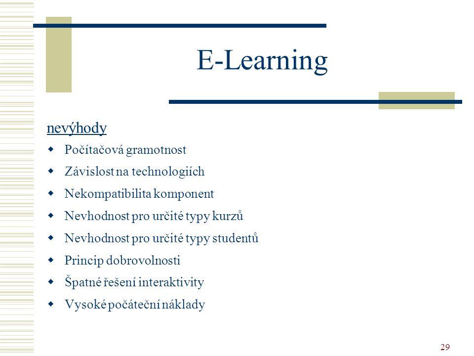 29 E-Learning nevýhody  Počítačová gramotnost  Závislost na technologiích  Nekompatibilita komponent  Nevhodnost pro určité typy kurzů  Nevhodnos