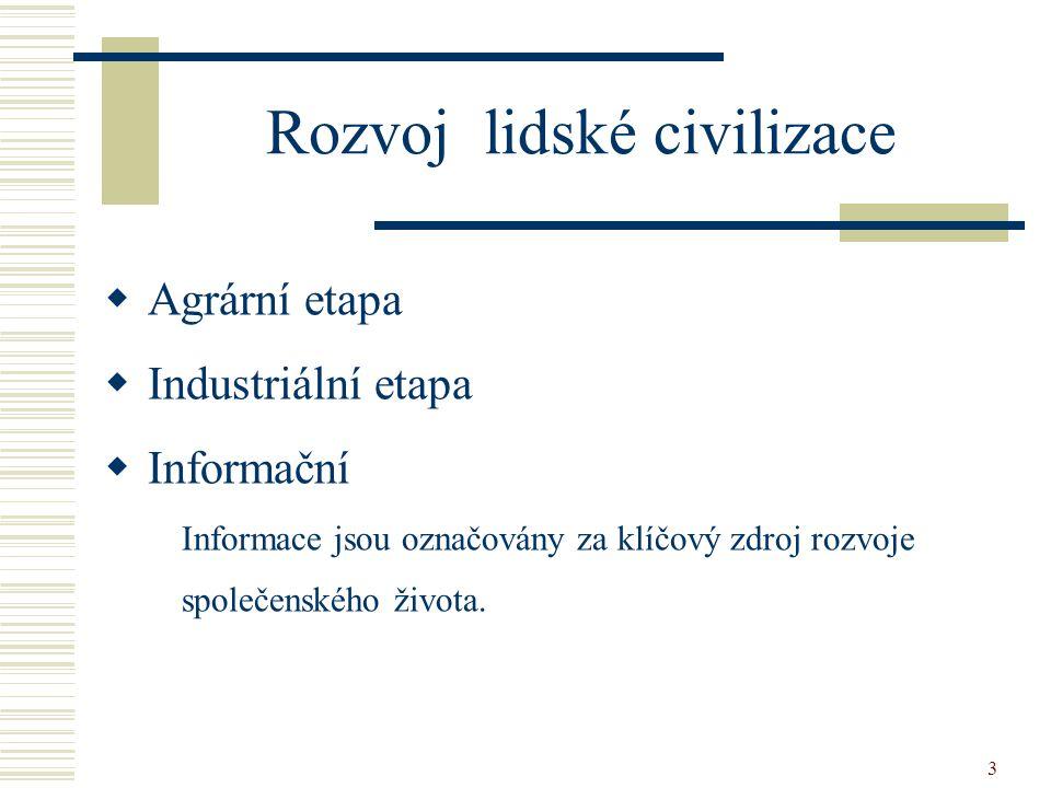 3 Rozvoj lidské civilizace  Agrární etapa  Industriální etapa  Informační Informace jsou označovány za klíčový zdroj rozvoje společenského života.