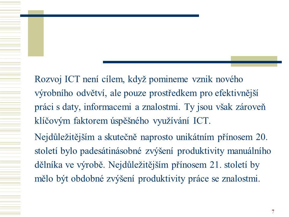 7 Rozvoj ICT není cílem, když pomineme vznik nového výrobního odvětví, ale pouze prostředkem pro efektivnější práci s daty, informacemi a znalostmi. T