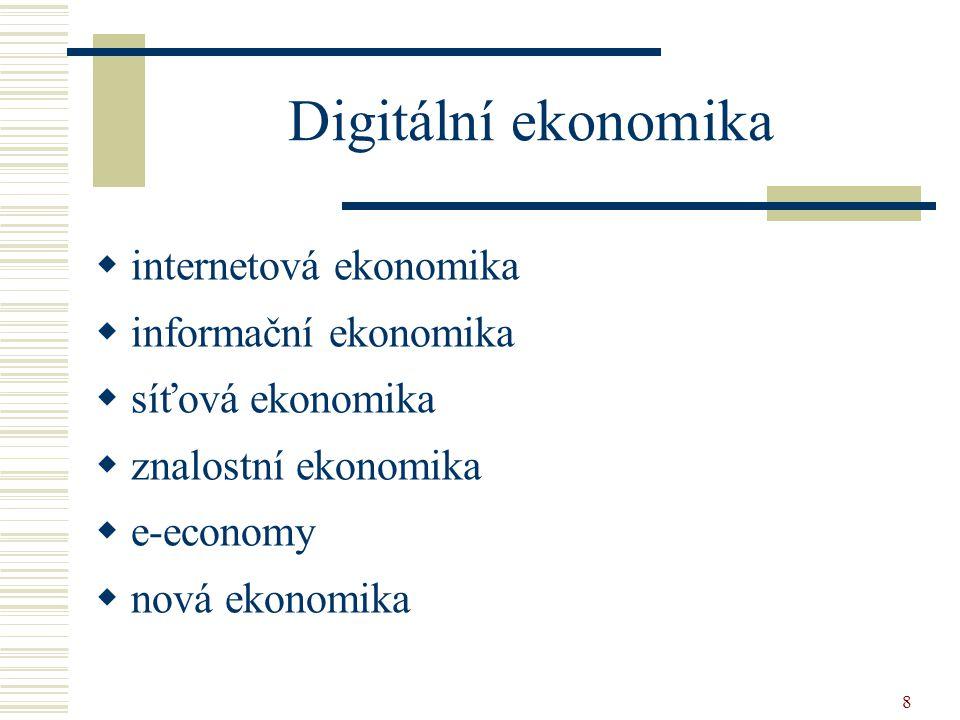8 Digitální ekonomika  internetová ekonomika  informační ekonomika  síťová ekonomika  znalostní ekonomika  e-economy  nová ekonomika