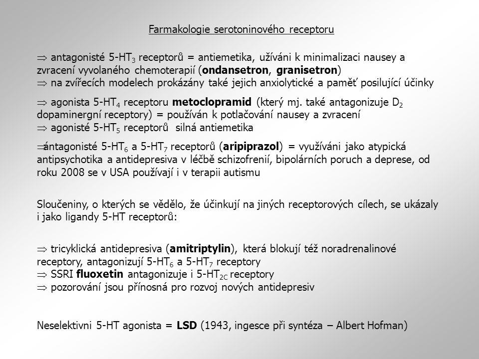  antagonisté 5-HT 3 receptorů = antiemetika, užíváni k minimalizaci nausey a zvracení vyvolaného chemoterapií (ondansetron, granisetron)  na zvířecí