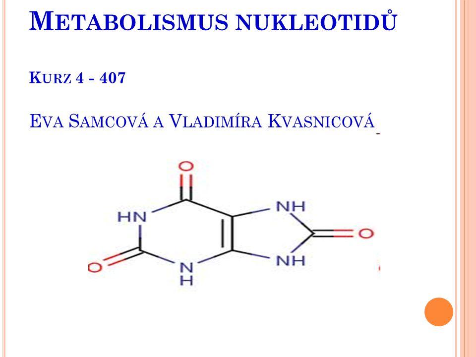 N UKLEOVÉ KYSELINY Z POTRAVY SE HYDROLYZUJÍ EXTRACELULÁRNĚ NK uvolněné z nukleoproteinů jsou v trávicím traktu odbourány nukleázami (ribo-,deoxyribo- ) a polynukleotidázami na nukleosidy, které jsou buď resorbovány nebo dále degradovány střevní fosforylázou na purinové a pyrimidinové baze.