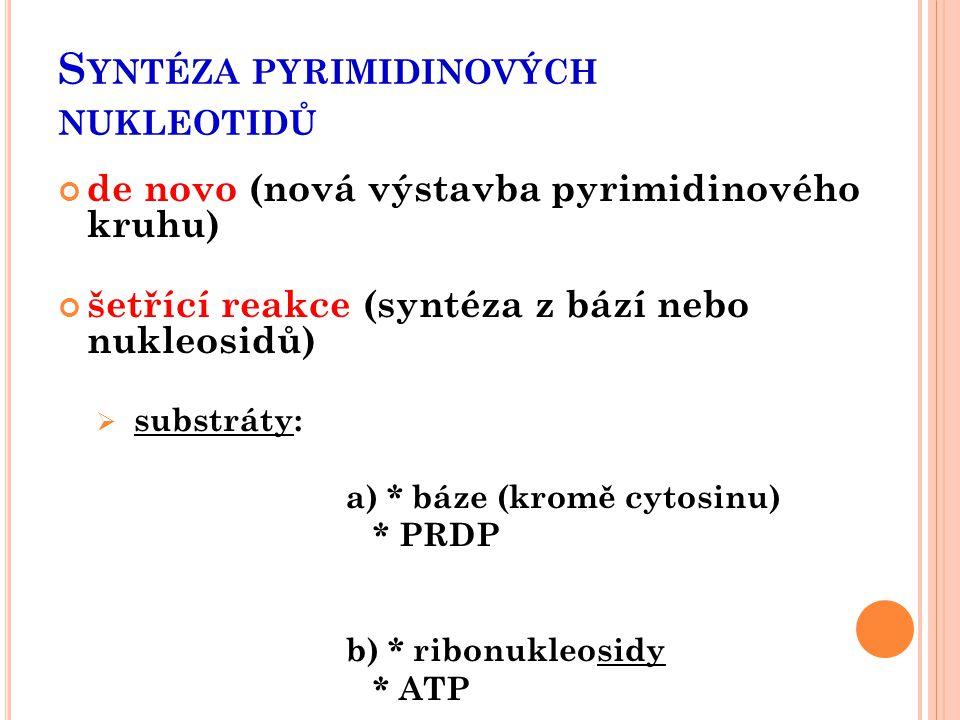S YNTÉZA PYRIMIDINOVÝCH NUKLEOTIDŮ de novo (nová výstavba pyrimidinového kruhu) šetřící reakce (syntéza z bází nebo nukleosidů)  substráty: a) * báze