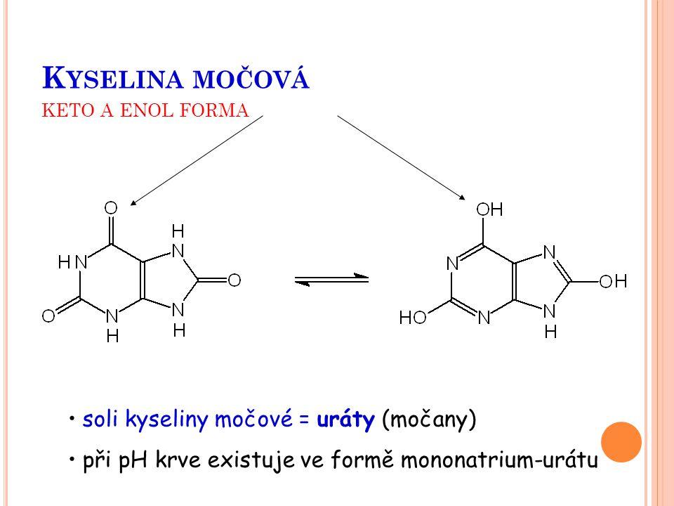 K YSELINA MOČOVÁ KETO A ENOL FORMA soli kyseliny močové = uráty (močany) při pH krve existuje ve formě mononatrium-urátu