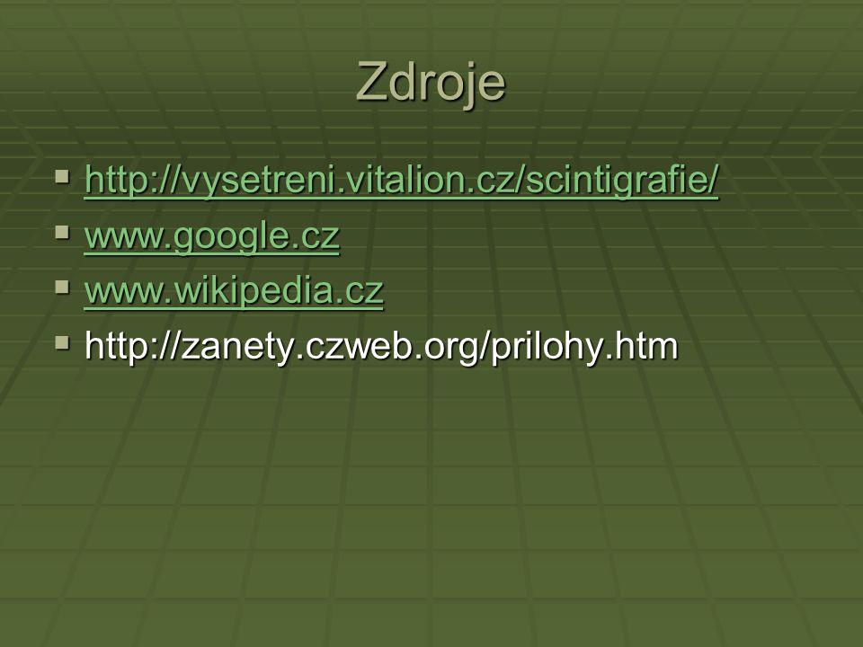 Zdroje  http://vysetreni.vitalion.cz/scintigrafie/ http://vysetreni.vitalion.cz/scintigrafie/  www.google.cz www.google.cz  www.wikipedia.cz www.wikipedia.cz  http://zanety.czweb.org/prilohy.htm