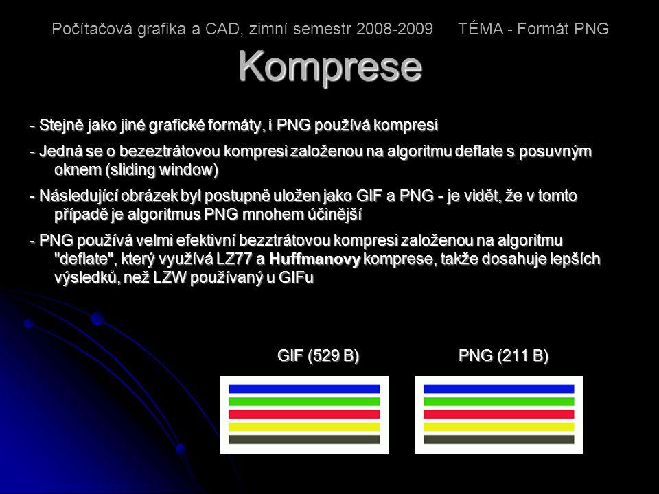 Komprese - Stejně jako jiné grafické formáty, i PNG používá kompresi - Jedná se o bezeztrátovou kompresi založenou na algoritmu deflate s posuvným oknem (sliding window) - Následující obrázek byl postupně uložen jako GIF a PNG - je vidět, že v tomto případě je algoritmus PNG mnohem účinější - PNG používá velmi efektivní bezztrátovou kompresi založenou na algoritmu deflate , který využívá LZ77 a Huffmanovy komprese, takže dosahuje lepších výsledků, než LZW používaný u GIFu GIF (529 B) PNG (211 B) GIF (529 B) PNG (211 B) Počítačová grafika a CAD, zimní semestr 2008-2009 TÉMA - Formát PNG