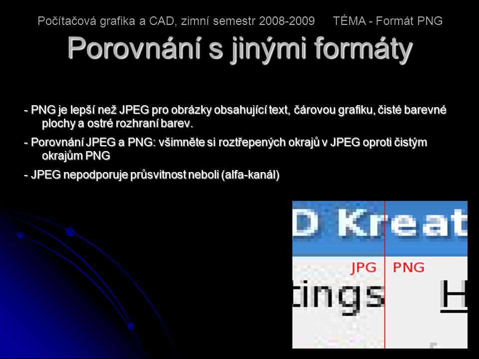 Porovnání s jinými formáty - PNG je lepší než JPEG pro obrázky obsahující text, čárovou grafiku, čisté barevné plochy a ostré rozhraní barev.
