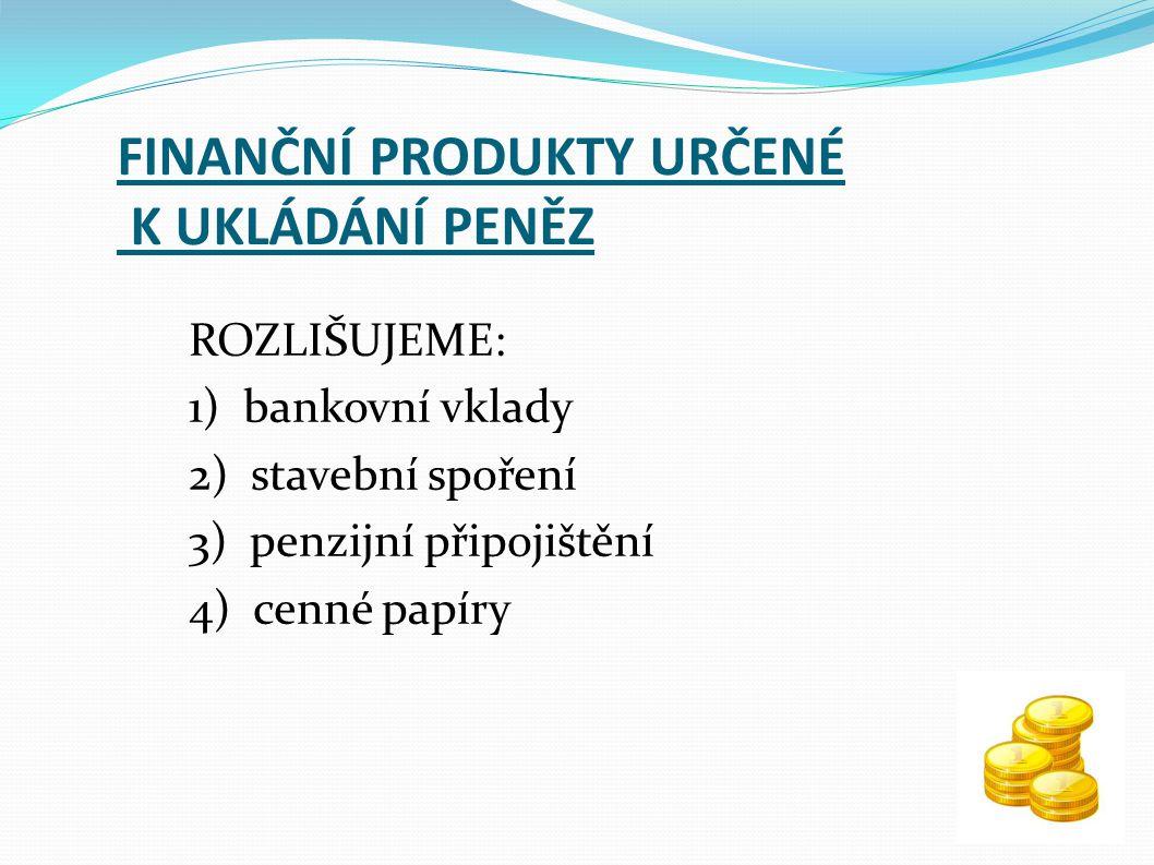 FINANČNÍ PRODUKTY URČENÉ K UKLÁDÁNÍ PENĚZ ROZLIŠUJEME: 1) bankovní vklady 2) stavební spoření 3) penzijní připojištění 4) cenné papíry