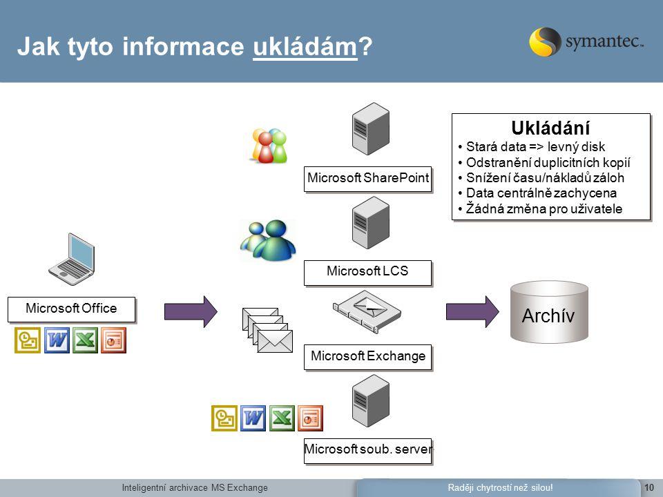 Inteligentní archivace MS Exchange10Raději chytrostí než silou.