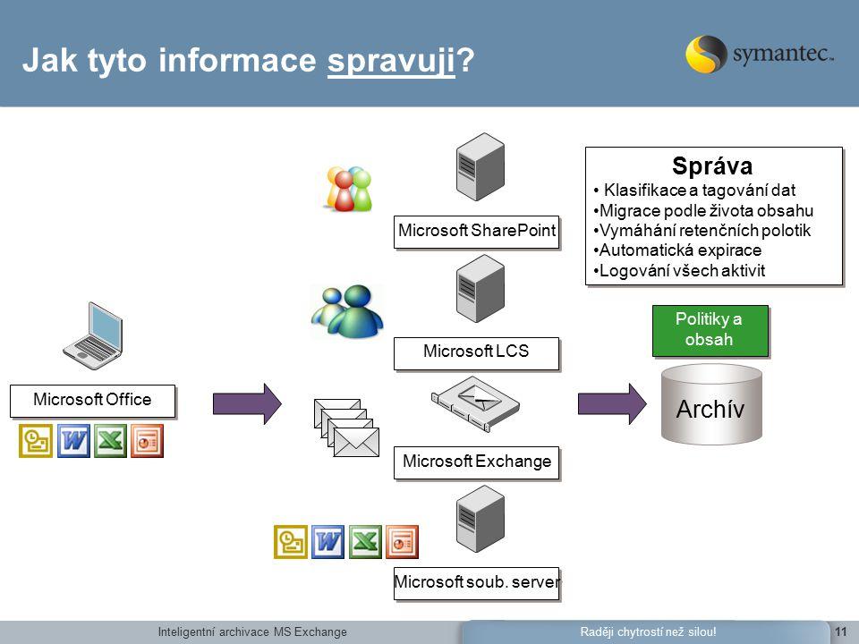 Inteligentní archivace MS Exchange11Raději chytrostí než silou.