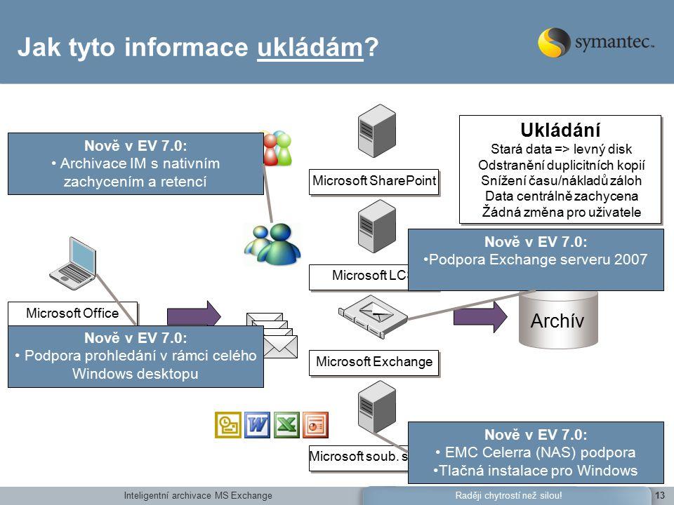Inteligentní archivace MS Exchange13Raději chytrostí než silou.