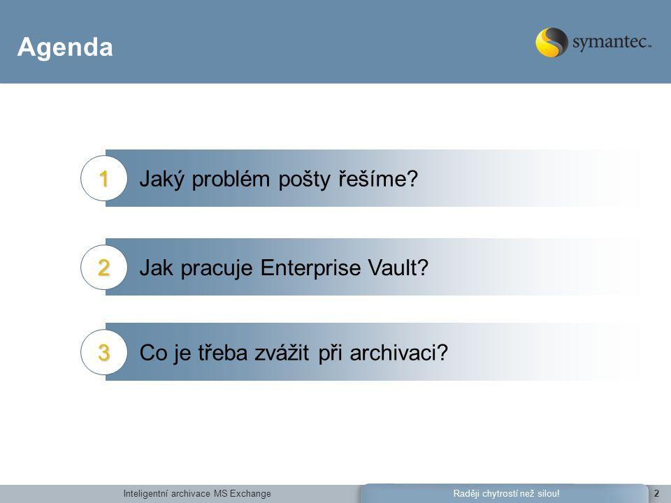 Inteligentní archivace MS ExchangeRaději chytrostí než silou!2 Agenda Jaký problém pošty řešíme 1 Jak pracuje Enterprise Vault 2 Co je třeba zvážit při archivaci 3