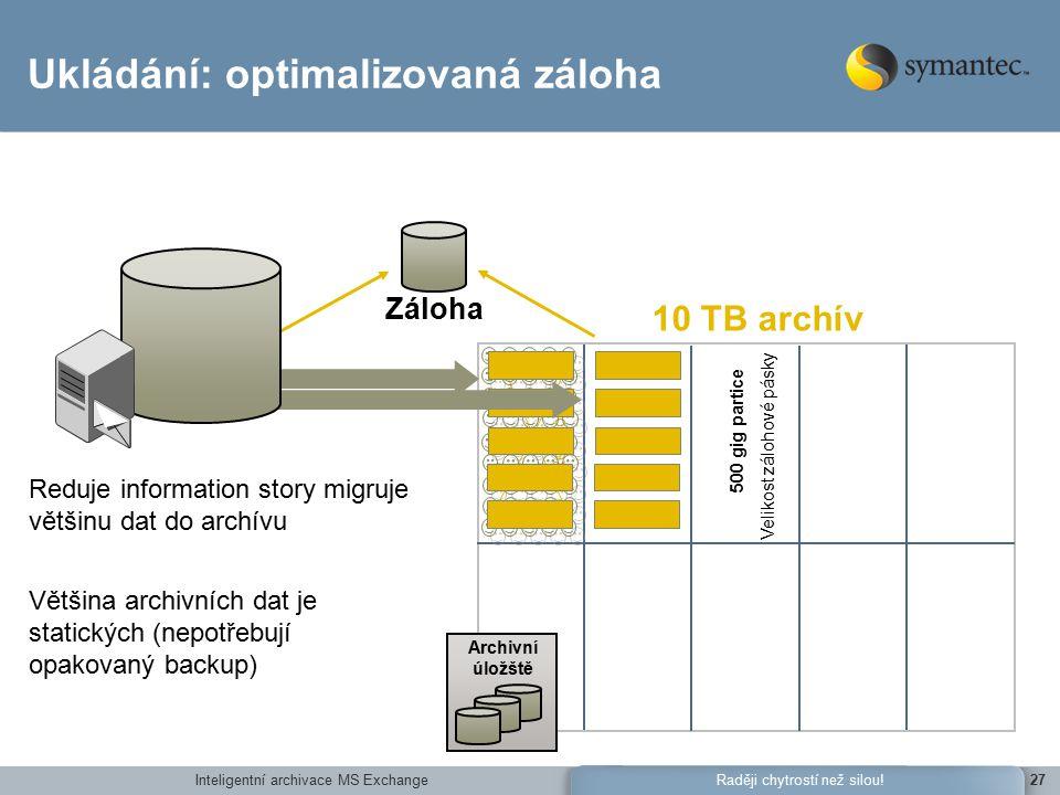 Inteligentní archivace MS Exchange27Raději chytrostí než silou.