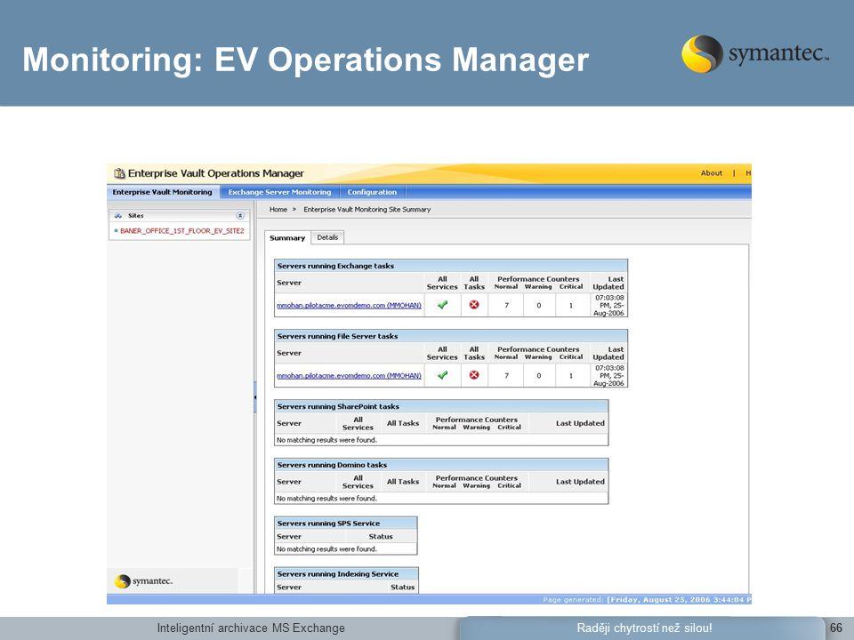 Inteligentní archivace MS Exchange66Raději chytrostí než silou! Monitoring: EV Operations Manager