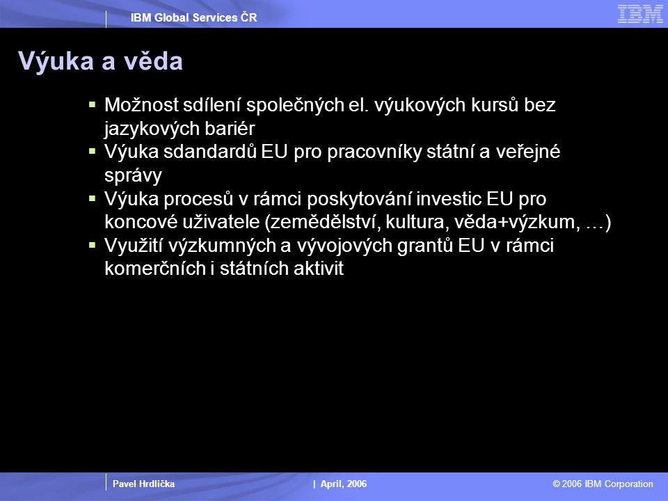 Pavel Hrdlička | April, 2006 © 2006 IBM Corporation IBM Global Services ČR Výuka a věda  Možnost sdílení společných el.