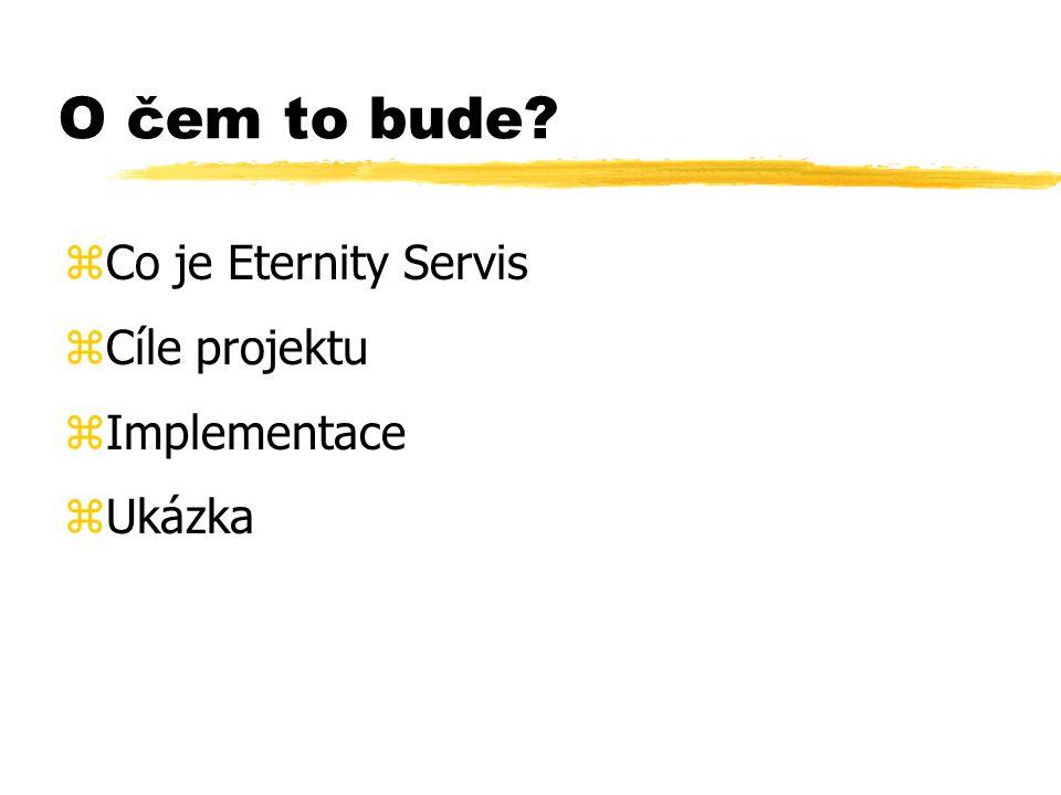 O čem to bude zCo je Eternity Servis zCíle projektu zImplementace zUkázka