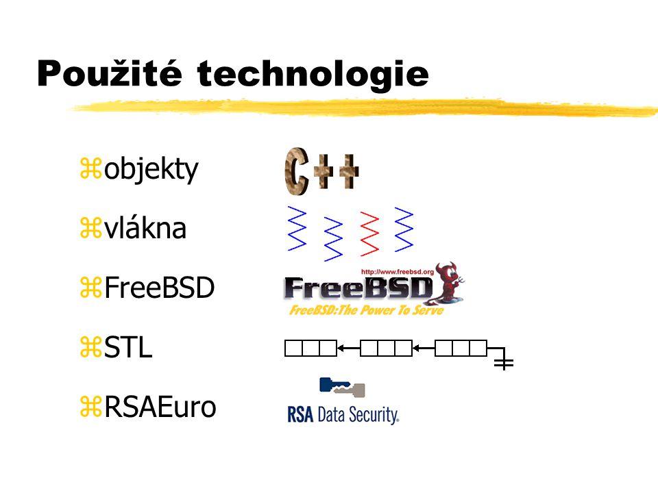 Použité technologie zobjekty zvlákna zFreeBSD zSTL zRSAEuro