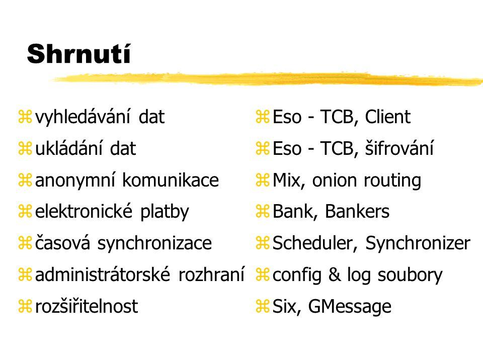 Shrnutí zvyhledávání dat zukládání dat zanonymní komunikace zelektronické platby zčasová synchronizace zadministrátorské rozhraní zrozšiřitelnost z Eso - TCB, Client z Eso - TCB, šifrování z Mix, onion routing z Bank, Bankers z Scheduler, Synchronizer z config & log soubory z Six, GMessage