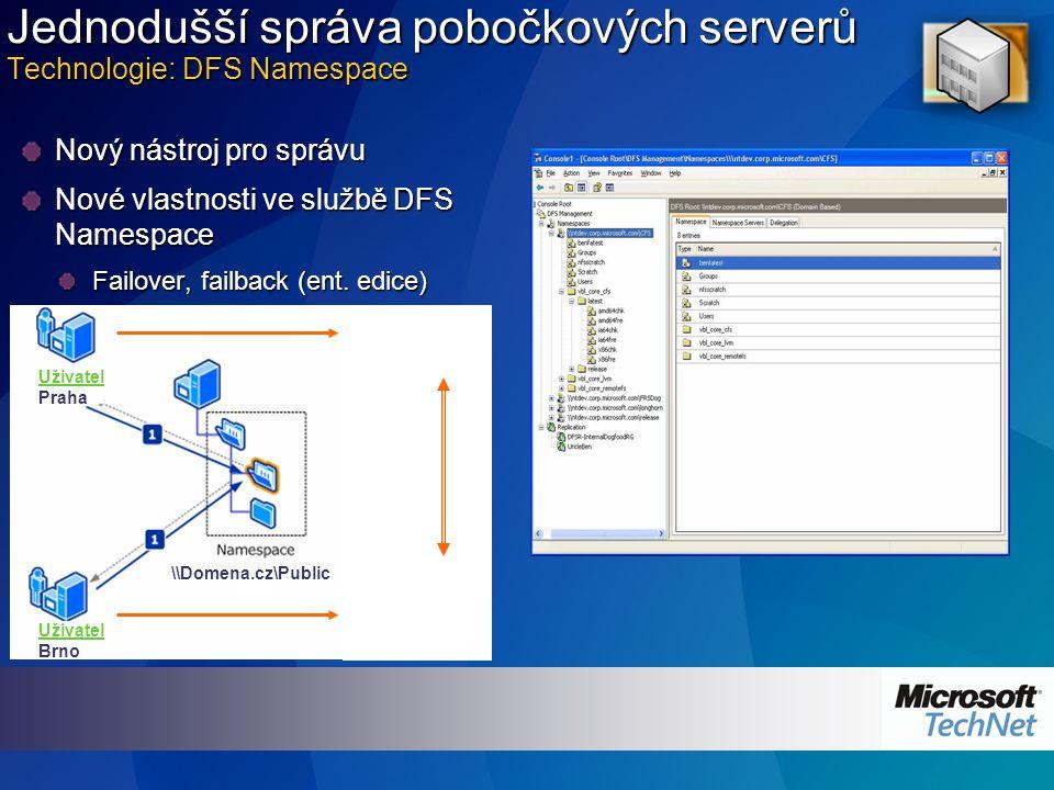 Jednodušší správa pobočkových serverů Technologie: DFS Namespace Nový nástroj pro správu Nové vlastnosti ve službě DFS Namespace Failover, failback (ent.