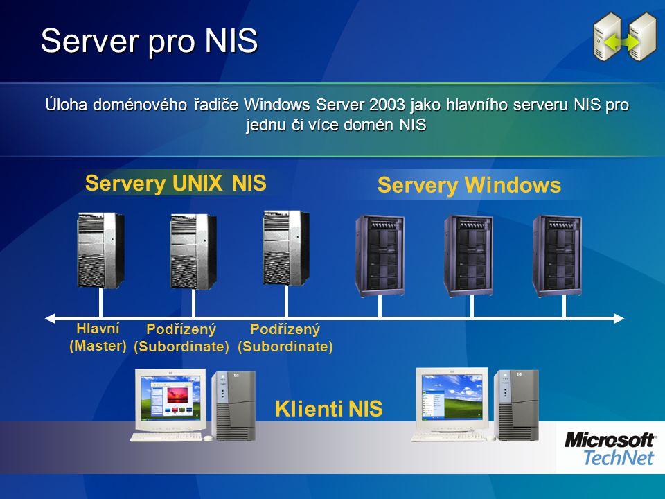 Server pro NIS Klienti NIS Servery UNIX NIS Hlavní (Master) Podřízený (Subordinate) Servery Windows Úloha doménového řadiče Windows Server 2003 jako hlavního serveru NIS pro jednu či více domén NIS Podřízený (Subordinate)