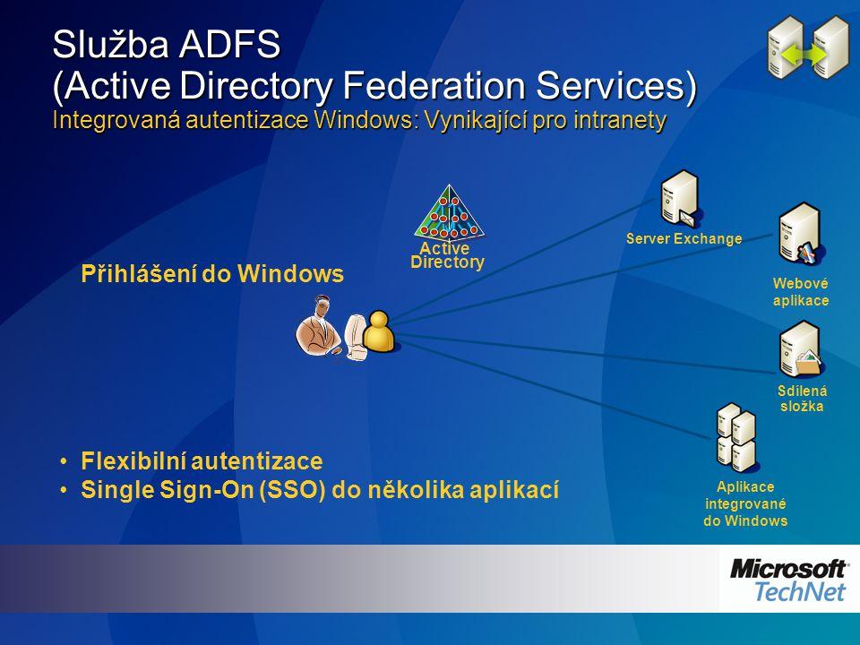 Active Directory Přihlášení do Windows Flexibilní autentizace Single Sign-On (SSO) do několika aplikací Server Exchange Webové aplikace Sdílená složka Aplikace integrované do Windows Služba ADFS (Active Directory Federation Services) Integrovaná autentizace Windows: Vynikající pro intranety