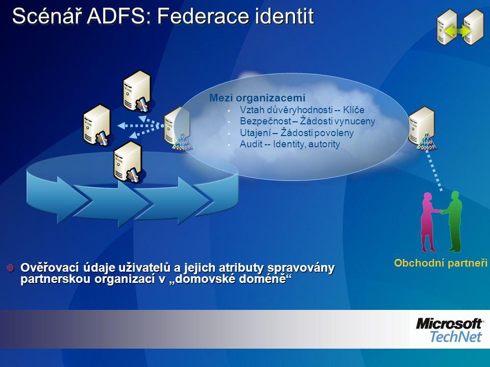 """Scénář ADFS: Federace identit Ověřovací údaje uživatelů a jejich atributy spravovány partnerskou organizací v """"domovské doméně Obchodní partneři Mezi organizacemi Vztah důvěryhodnosti -- Klíče Bezpečnost – Žádosti vynuceny Utajení – Žádosti povoleny Audit -- Identity, autority"""