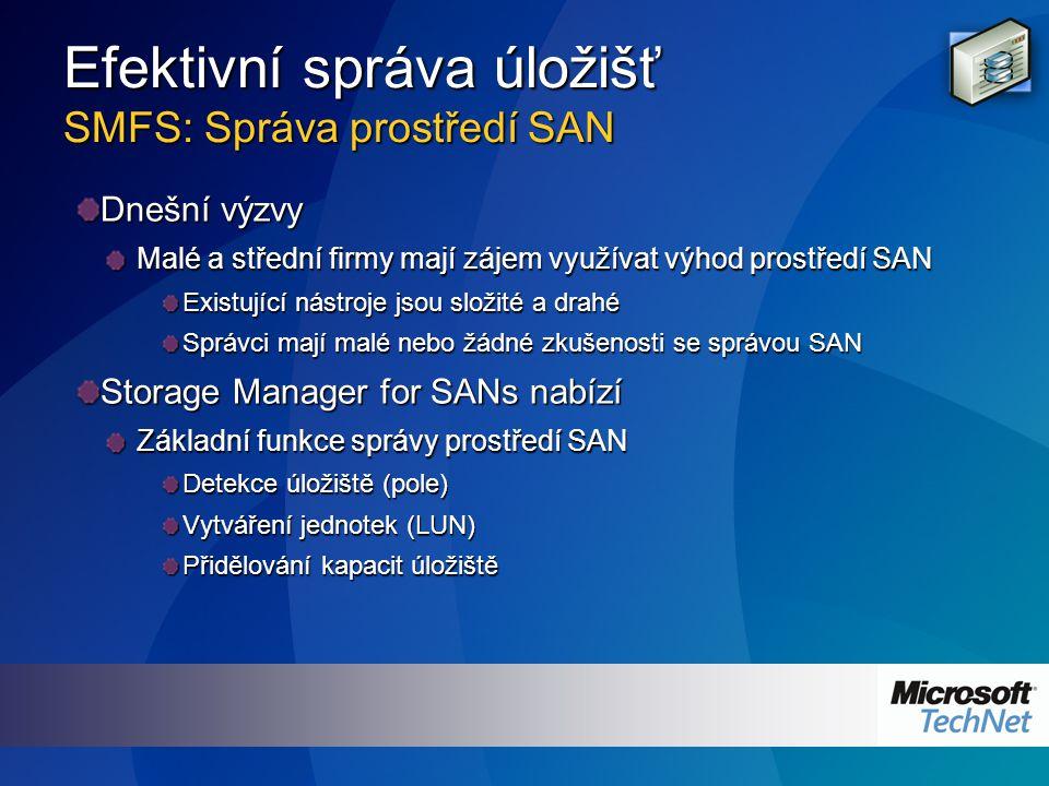 Efektivní správa úložišť SMFS: Správa prostředí SAN Dnešní výzvy Malé a střední firmy mají zájem využívat výhod prostředí SAN Existující nástroje jsou složité a drahé Správci mají malé nebo žádné zkušenosti se správou SAN Storage Manager for SANs nabízí Základní funkce správy prostředí SAN Detekce úložiště (pole) Vytváření jednotek (LUN) Přidělování kapacit úložiště