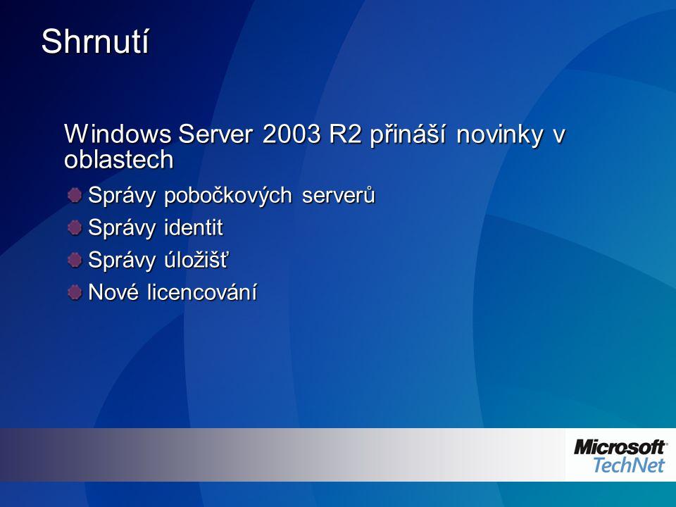 Shrnutí Windows Server 2003 R2 přináší novinky v oblastech Správy pobočkových serverů Správy identit Správy úložišť Nové licencování