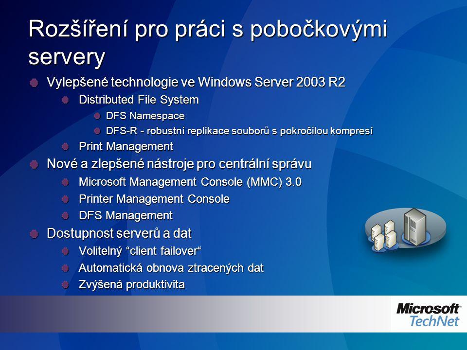 Rozšíření pro práci s pobočkovými servery Vylepšené technologie ve Windows Server 2003 R2 Distributed File System DFS Namespace DFS-R - robustní replikace souborů s pokročilou kompresí Print Management Nové a zlepšené nástroje pro centrální správu Microsoft Management Console (MMC) 3.0 Printer Management Console DFS Management Dostupnost serverů a dat Volitelný client failover Automatická obnova ztracených dat Zvýšená produktivita
