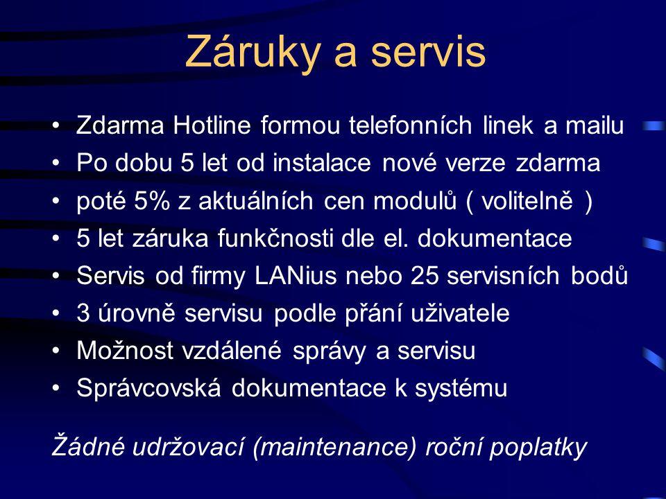 Záruky a servis Zdarma Hotline formou telefonních linek a mailu Po dobu 5 let od instalace nové verze zdarma poté 5% z aktuálních cen modulů ( volitel