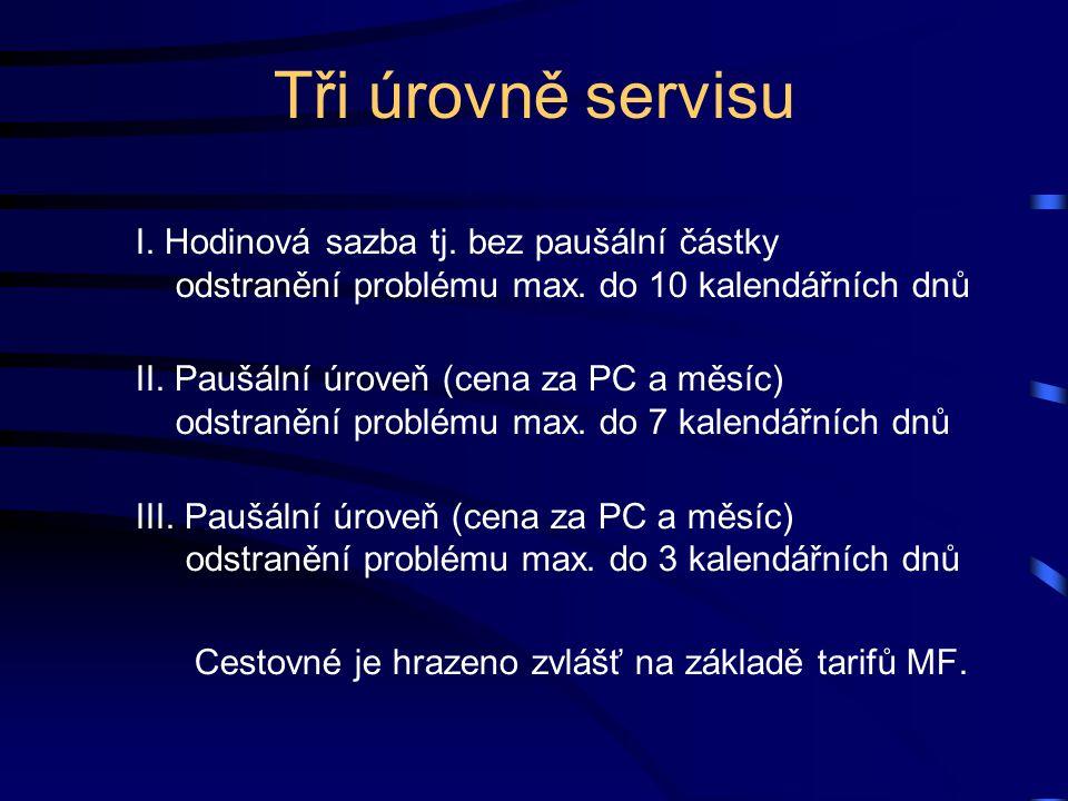 Tři úrovně servisu I. Hodinová sazba tj. bez paušální částky odstranění problému max. do 10 kalendářních dnů II. Paušální úroveň (cena za PC a měsíc)