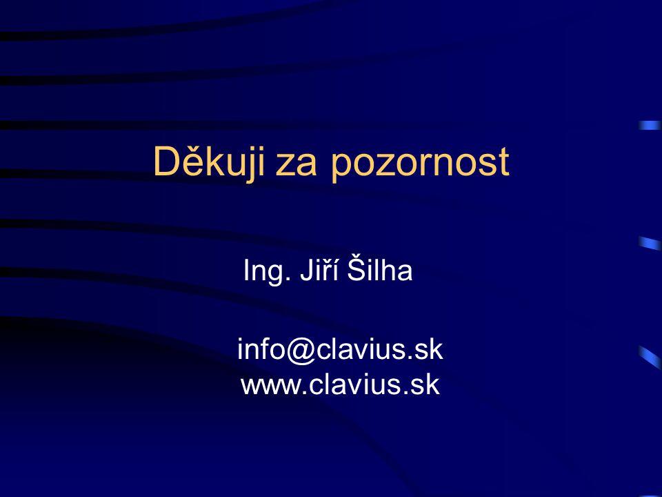 Děkuji za pozornost Ing. Jiří Šilha info@clavius.sk www.clavius.sk