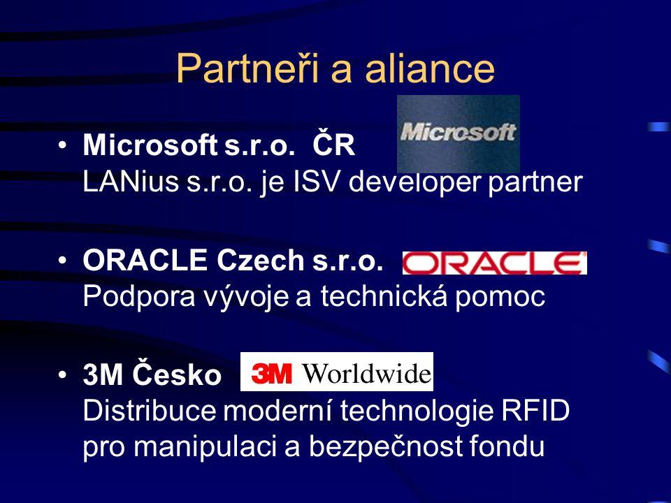 Partneři a aliance Microsoft s.r.o. ČR LANius s.r.o. je ISV developer partner ORACLE Czech s.r.o. Podpora vývoje a technická pomoc 3M Česko Distribuce